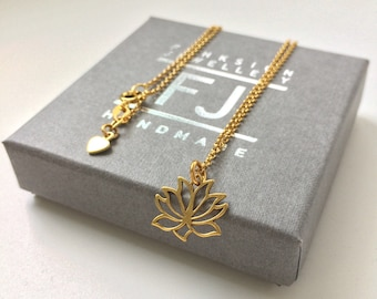 Dainty Gold Necklace, Lotus Flower Charm, Gold Vermeil Jewelry, Yoga Lovers Pendant, Gift for Women, Custom Sizes, Gift Box