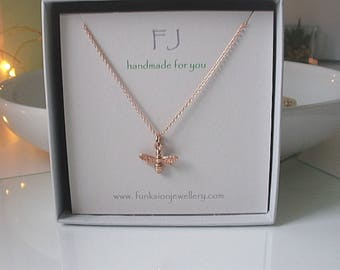 Rose Gold Bee Necklace, Gift for Women, Dainty Necklaces, Bee Charm Necklace, Bee Necklace Rose Gold, Girlfriend Gift, Handmade, Gift Box