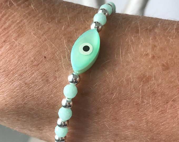 Featured listing image: Sterling Silver Evil Eye Bracelet, Handmade Turquoise Aqua Beaded Gift for Women, Stretch or Clasp, Custom Sizes