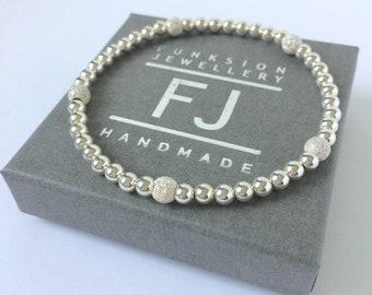 Sterling Silver Bead Bracelets, 4mm Sparkling Stardust Beaded Stretch Bangles in Custom Sizes, Gift for Women, Best Friend, Handmade