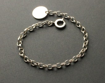 Sterling Silver Belcher Chain Charm Bracelet for Women with Disc Tag Extender, Handmade Gift for Her in Custom Sizes