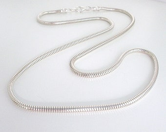 Sterling Silver Snake Chain Necklace, Solid 3mm Round Chain, Handmade Gift for Men or Women, Custom Sizes