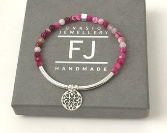Sterling Silver Beaded Stretch Bracelet for Women, Mandala Balance Charm, 4mm Pink Agate Beads, Handmade Gift for Her, Custom Sizes