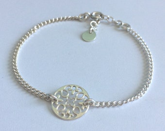 Sterling Silver Bracelets for Women, Mandala Circle Charm, Adjustable, Curb Link Chain, Layering, Boho, Gift for Her, Spiritual