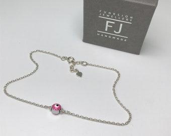 Evil Eye Anklet Sterling Silver, Ankle Bracelet with Tiny Heart Extender, Adjustable UK Handmade Gift for Women, Custom Sizes, Gift Boxed