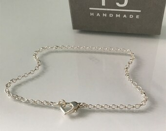 Sterling Silver Heart Anklets for Women, Belcher Chain Ankle Bracelet with Love Heart Clasp, UK Handmade Gift, Custom Sizes, Gift Boxed