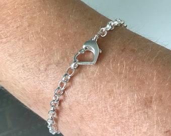 Sterling Silver Heart Clasp Belcher Chain Bracelet,  UK Handmade Gift for Women for Girls, Custom Sizes