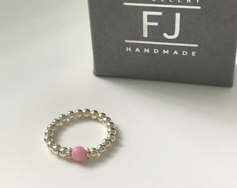 Sterling Silver Beaded Ring for Women, Pink Mother of Pearl Bead, Handmade Stacking Ring, Balance & Harmony Gift