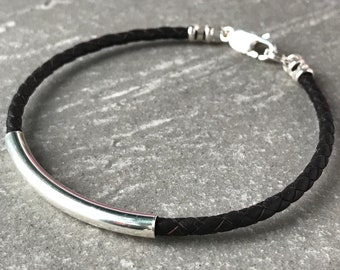 Mens Leather and Sterling Silver Bead Bracelet, Slim Beaded Braid in Black or Brown, Handmade Gift for Him, Custom Sizes