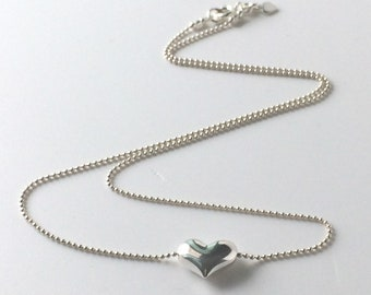 Sterling Silver Heart Necklace, Gift for Women, Dainty Simple Bead Chain & Charm Personalise, Handmade, Custom Sizes, Gift Box