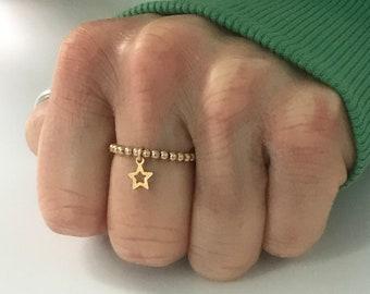 Gold Star Ring, 14k Gold Filled Beaded Ring, UK Handmade Stretch Stacking Charm Bead Rings, Gift for Women, Custom Sizes