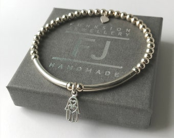 Sterling Silver Bracelets for Women, Hamsa Hand Heart Charms, 4mm Beaded Gift for Her, 925 Stretch Silver Jewelry, Handmade, Custom Sizes