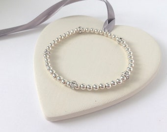 Sterling Silver Beaded Bracelets for Women, Stretch Bangles, Cubic Zirconia Beads, Custom Sizes, Gift for Women, Best Friend, Handmade, UK