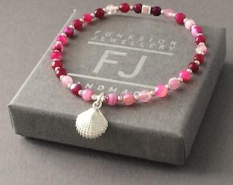 Pink Agate Bracelet with Sterling Silver Beads & Shell Charm, Gemstone Beaded Handmade Gift for Women, Custom Sizes, Gift Box