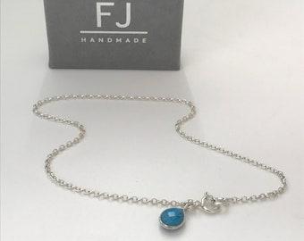 Sterling Silver Ankle Bracelet, Turquoise Teardrop Charm Anklet, Handmade Gift for Women, Custom Sizes