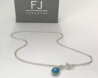 Sterling Silver & Turquoise Anklet, Teardrop Charm Ankle Bracelet, UK Handmade Ankle Chain Gift for Women, Custom Sizes