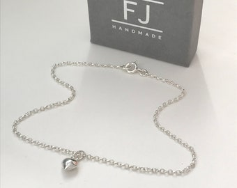 Sterling Silver Puff Heart Charm Ankle Bracelet, Dainty Ankle Chain, UK Handmade Gift for Women, Custom Sizes,