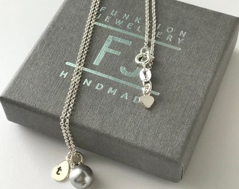 Sterling Silver Pearl Necklace with Personalised Initial Charm, Dainty Handmade Gift for Women in Gift Box