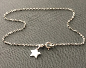 Sterling Silver Anklets for Women, Wish Charm Ankle Bracelet, Boho Star Ankle Chain, Handmade Gift for Her