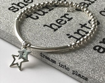 Sterling Silver Bracelets for Women, Personalised Initial Star Charms, Handmade 4mm Beaded Gift for Her, Custom Sizes