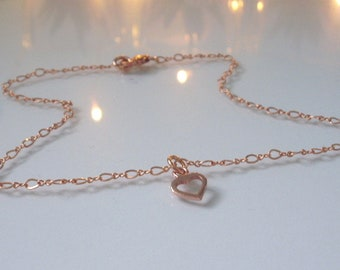 Rose Gold Filled Heart Charm Anklet, Ankle Bracelet, Gift for Women, Figaro Chain, Gift for Girlfriend, Custom Sizes, Handmade, Gift Box