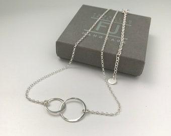Sterling Silver Interlocking Ring Necklace, Dainty Handmade Adjustable Choker UK Gift for Women, Custom Sizes