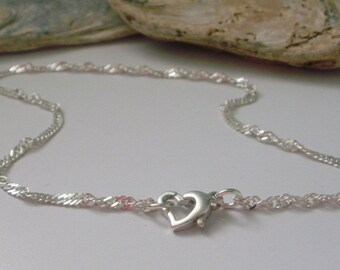 Silver Anklets for Women, Gift for Girls, Bridal gift, Handmade, Heart Clasp, Ankle Chain, Ankle Bracelet Sterling Silver, Silver Anklet,