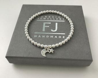 Sterling Silver Stretch Beaded Bracelet, Moon & Star Charms, UK Handmade Stacking Gift for Women, 4mm Beads, Custom Sizes