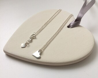 Tiny Heart Necklaces for Women, Dainty Sterling Silver Friendship Necklace, Gift for Her, Flower Girl Jewelry, Custom Sizes, Gift Box
