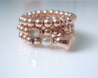 Rose Gold Stacking Ring Set for Women with Heart Charm, Swarovski Pearl & Crystal Beads, Beaded Stretch Toe Thumb Finger Rings, Handmade