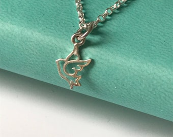 Sterling Silver Anklet with Dove Charm, Ankle Chain for Women, UK Handmade Ankle Bracelet Gift for Girls, Initial Charm Option, Custom Sizes