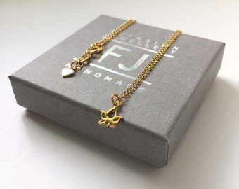 Tiny Lotus Necklace, Lotus Flower on Dainty Yellow Gold Vermeil Chain, Gift for Women, Girlfriend, Handmade, Gift Box, Custom Sizes