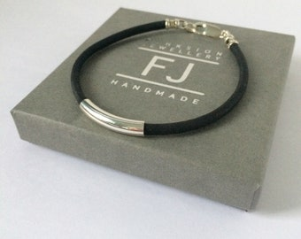 Vegan Leather Wristband, Sterling Silver Beaded Bracelet, Black Cork Faux Leather, Womens, Mens Jewellery, Vegan Jewelry, Handmade, Gift Box
