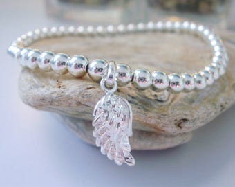 Sterling Silver Angel Wing Charm Bracelet, Beaded Bracelets Handmade Gift for Women, Custom Sizes, 4mm Beads, Gift Box