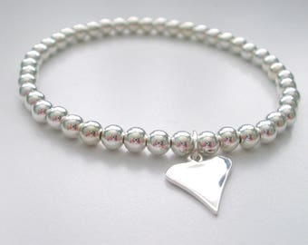 Silver Heart Bracelet, Sterling Silver, Simple Bracelet, Love Charm, 4mm Beads, Gift for Women, Wedding Jewellery, Handmade, Custom Sizes