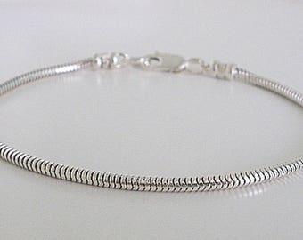 Boys Sterling Silver Bracelet, 2.4mm Solid Silver Snake Chain Bracelet, Kids Jewelry Gift, Handmade, Custom Sizes, Gift Box