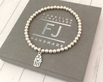 Sterling Silver Bracelet, Hamsa Hand Jewelry, Stretch, Beaded Charm Bangle, Stacking, Gift for Women, Handmade, Custom Sizes, Gift Box