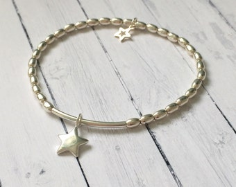 Sterling Silver Star Charms Oval & Noodle Beads Bracelet, Handmade Celestial Jewellery Gift for Her in Custom Sizes