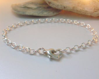 Sterling Silver Belcher Chain Bracelet, Heart Clasp, Gift for Women, for Girls, Wedding Jewellery, Summer, Handmade, Layering, Personalise