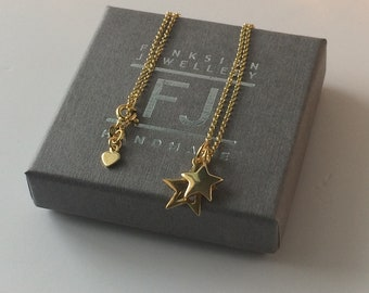Gold Necklaces for Women, Celestial Star Charms Pendant, 18k Gold on Sterling Silver Chain, Dainty Handmade Gift for Her