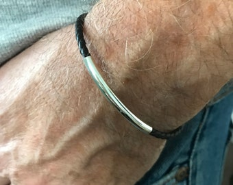 Mens Beaded Leather Bracelet with Clasp, Sterling Silver Tube Bead on Black or Brown Leather Braided Wristband, UK Handmade, Custom Sizes