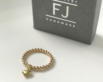 Gold Heart Ring, 14k Gold Filled Beaded, Handmade Stretch Stacking Charm Rings, Gift for Women, Custom Sizes