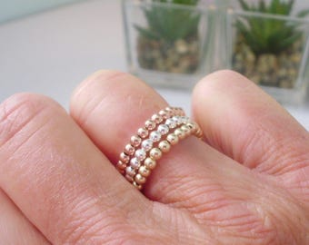 Sterling Silver, Gold or Rose Gold Stretch Rings Set or Single, 2.5mm Beads, Handmade Gift for Women Best Friend