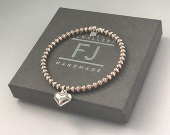Sterling Silver Rose Gold Heart Charm Bracelet, Stretch Beaded Love Bracelet, Gift for Women, UK Handmade Custom Sizes, Gift Box