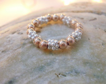 18k Rose Gold Filled Sterling Silver Ring for Women, Stacking Stretch Rings, Silver Beaded Ring, Gift for women, Handmade