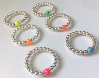Sterling Silver Stretch Rings with Swarovski Pearl Bead, Turquoise, Pink, Orange, Red, Yellow or Green, Handmade Gift for Her, Custom Sizes