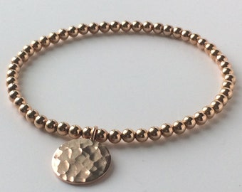 Rose Gold Full Moon Charm Bracelet, 14k Rose Gold Filled 4mm Beads, 24k Vermeil Hammered Disc, Handmade Gift for Women, Custom Sizes