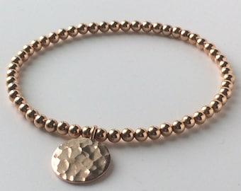 14k Rose Gold Full Moon Charm Bracelet, 4mm Rose Gold Filled Beads, 18k Vermeil Hammered Disc, Handmade Gift for Women, Custom Sizes