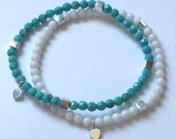 Beaded Bracelets for Women, Turquoise or White, Sterling Silver Beads Heart Charm, Stacking Gift for Women, Handmade, Gift Box, Custom Sizes