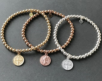 Coin Charm Bracelet, Sterling Silver, Gold or Rose Gold Filled Beaded Bracelets, Handmade Gift for Women, Custom Sizes